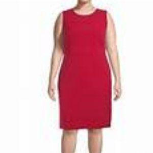 KASPER Fire RED Sleeveless Sheath Dress sz 18 NWT